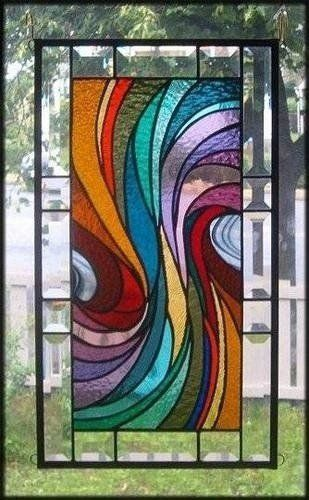 Warm Waves Stained Glass Window Panel Signed And Dated 2 Faux Stained Glass Tiffany Stained