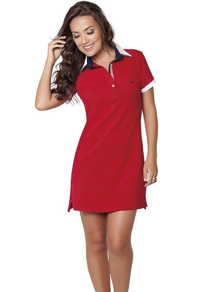 f8a00a9f9ec8b vestido polo vermelho principessa lizete Vestido De Gola