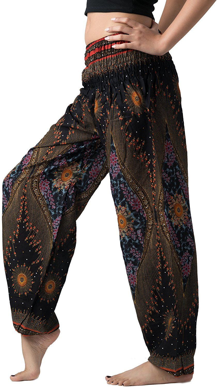 fd1e532cca58e Bangkokpants Women's Boho Pants Hippie Clothes Yoga Outfits Peacock Design  One Size Fits (Black) at Amazon Women's Clothing store: