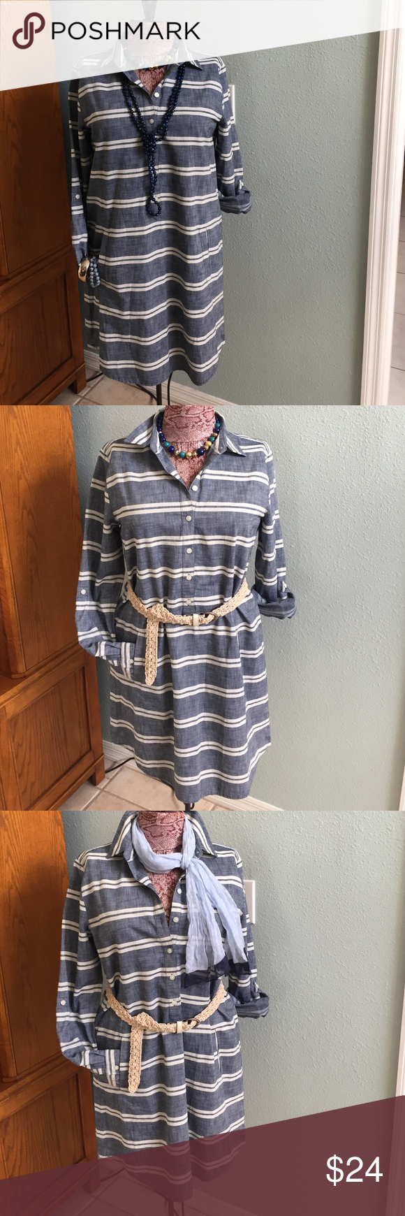 Ann Taylor striped chambray dress Ann Taylor, Sz 8, striped chambray dress, beautiful. Very popular, sold out everywhere. Light weight denim colored chambray, with off white stripes, 6 button closure, roll tab sleeves, 2 hip pockets, and collar. Simple, chic, and stunning. Perfect for work, play, dress up or down. 32in in length, 💯% cotton, NWOT💙 Ann Taylor Dresses Midi