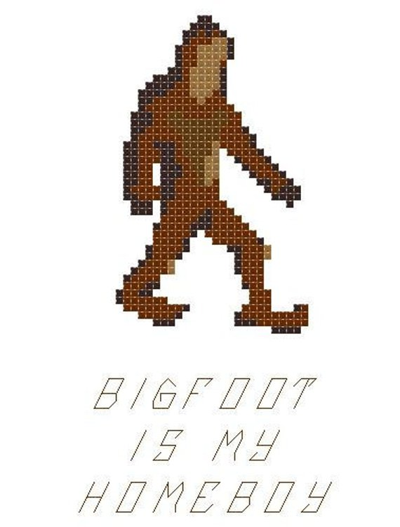 Funny Bigfoot Is My Homeboy Cross Stitch Pattern 5 X 7