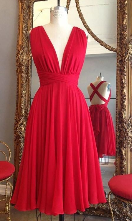 Sexy Open Back Bridesmaid Dress,Simple CHiffon Prom Dress,Short Bridesmaid Dress,Red Bridesmaid Gown,V-neckline Red Wedding Guest Dress