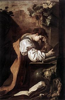 Domenico Fetti (c. 1589 - 1623) was een Italiaanse Barok schilder Melanconia (Accademia, Venice)