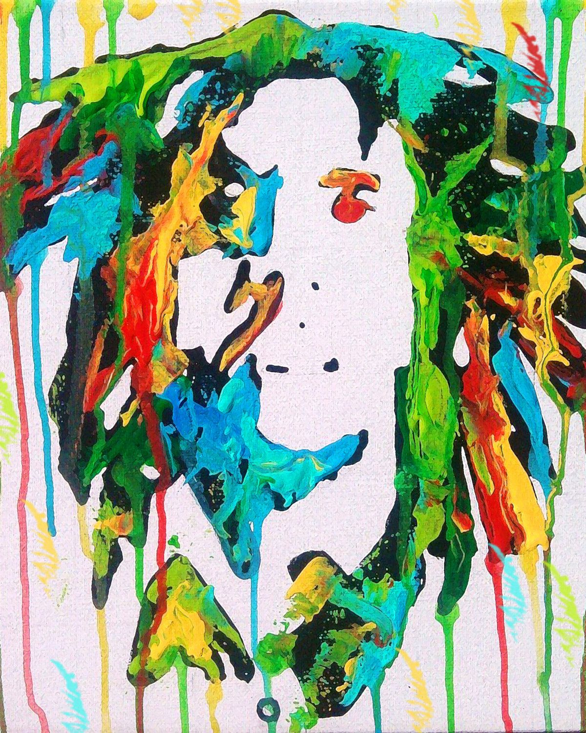 Bob marley painting print poster rasta jamaican one for Jamaican arts and crafts for sale