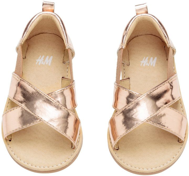 db626e43416c H M - Sandals with Metallic Finish - Rose gold-colored - Kids