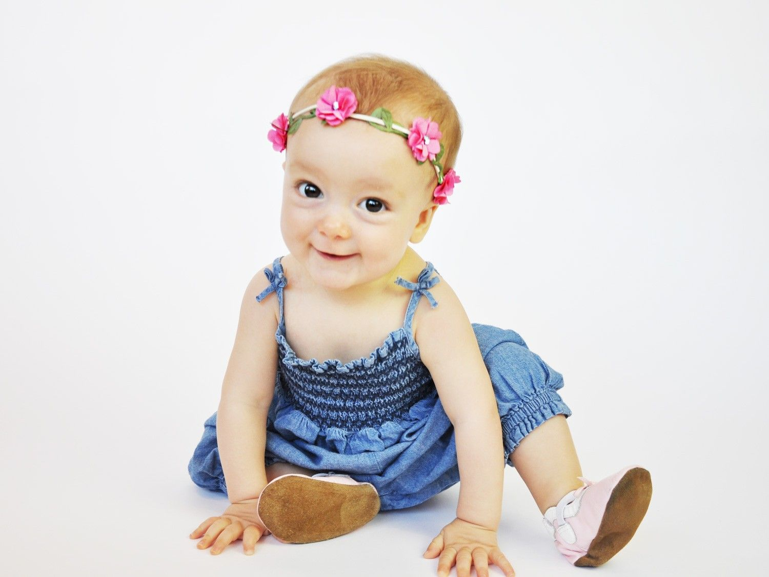 These pretty flower crowns can be worn on baby heads from  months