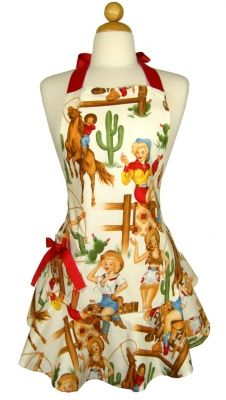 Giddy Up Girls! You'll be cookin' up something more than dinner in this sexy Pinup Cowgirl Apron. Packaged in a matching keepsake envelope. Made in the USA. $59