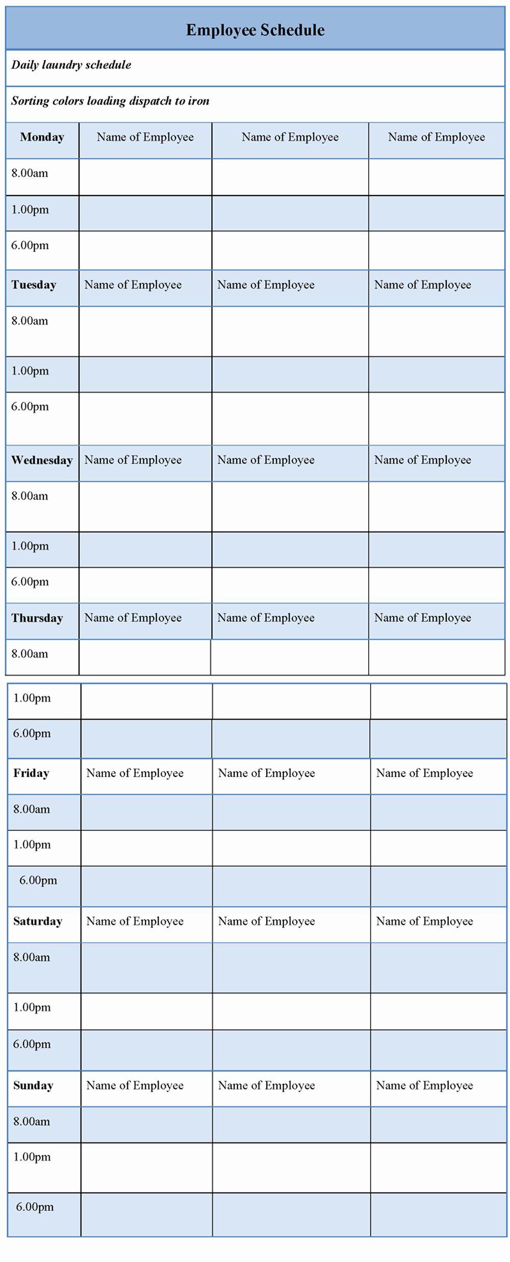 Sample Work Schedule Template New Employee Schedule Example Of Employee Schedule Template Schedule Template Funeral Program Template Free Brochure Template