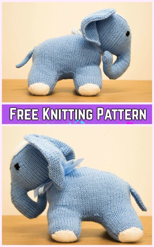 Knit Elephant Plush Toy Free Knitting Pattern Pinterest Knit