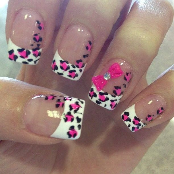 Cute Pink Leopard Print Nails With Bow