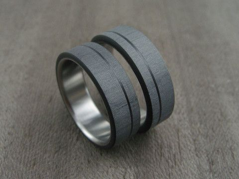 Carbon Fiber And Anium Ring Pinstripe Wedding Set