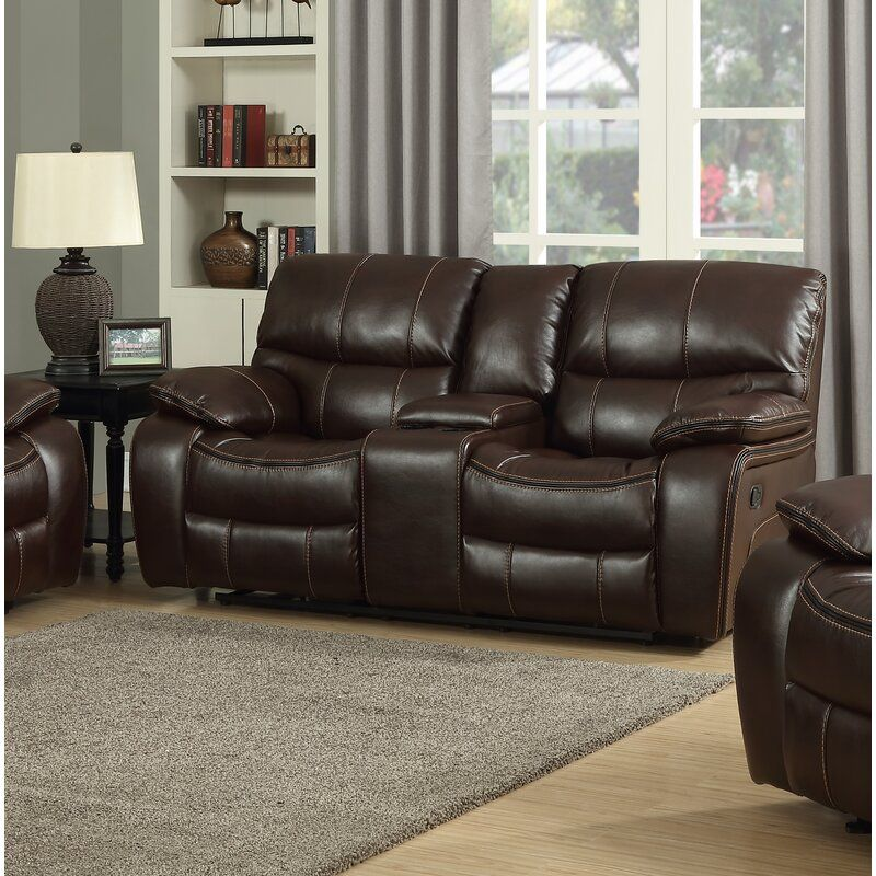 Pascal 77 Wide Leather Match Pillow Top Arm Reclining Loveseat Love Seat Leather Reclining Loveseat Living Room Console