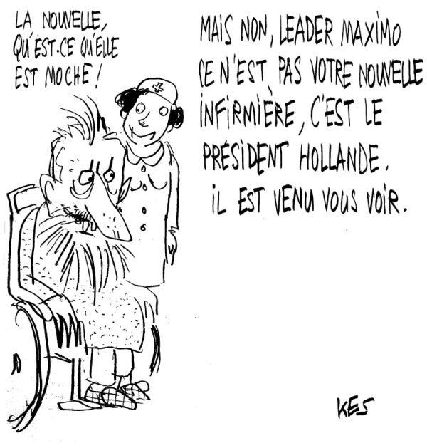 Hollande chez Castro.© Patrice Kes