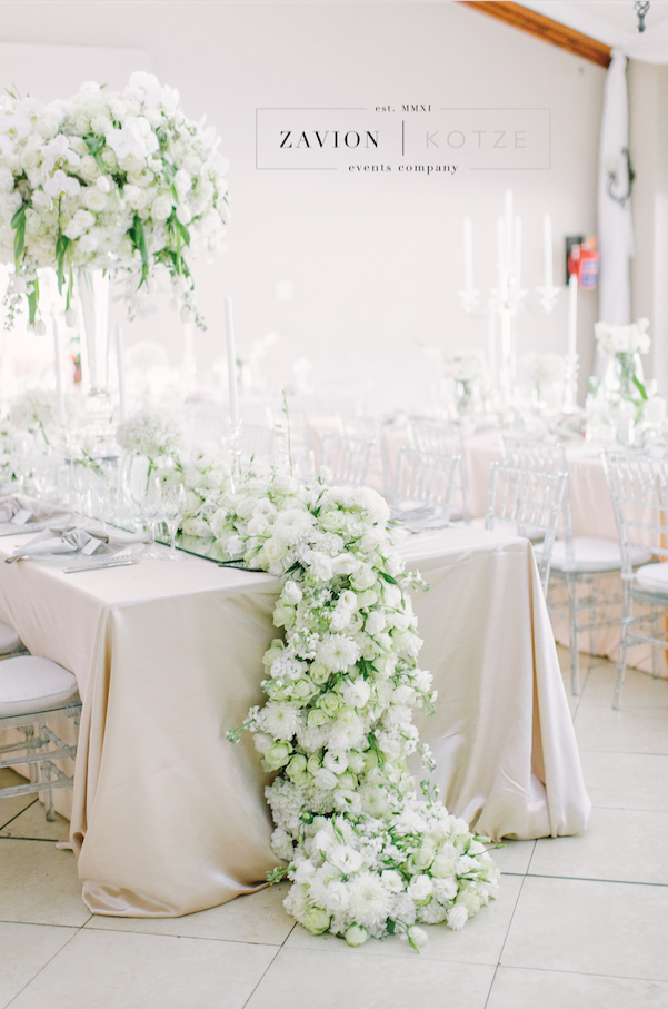 White Wedding Flowers In Huge Arrangements Crisp White And Green Wedding Banquet T White Floral Arrangements Floral Table Runners Wedding White Roses Wedding