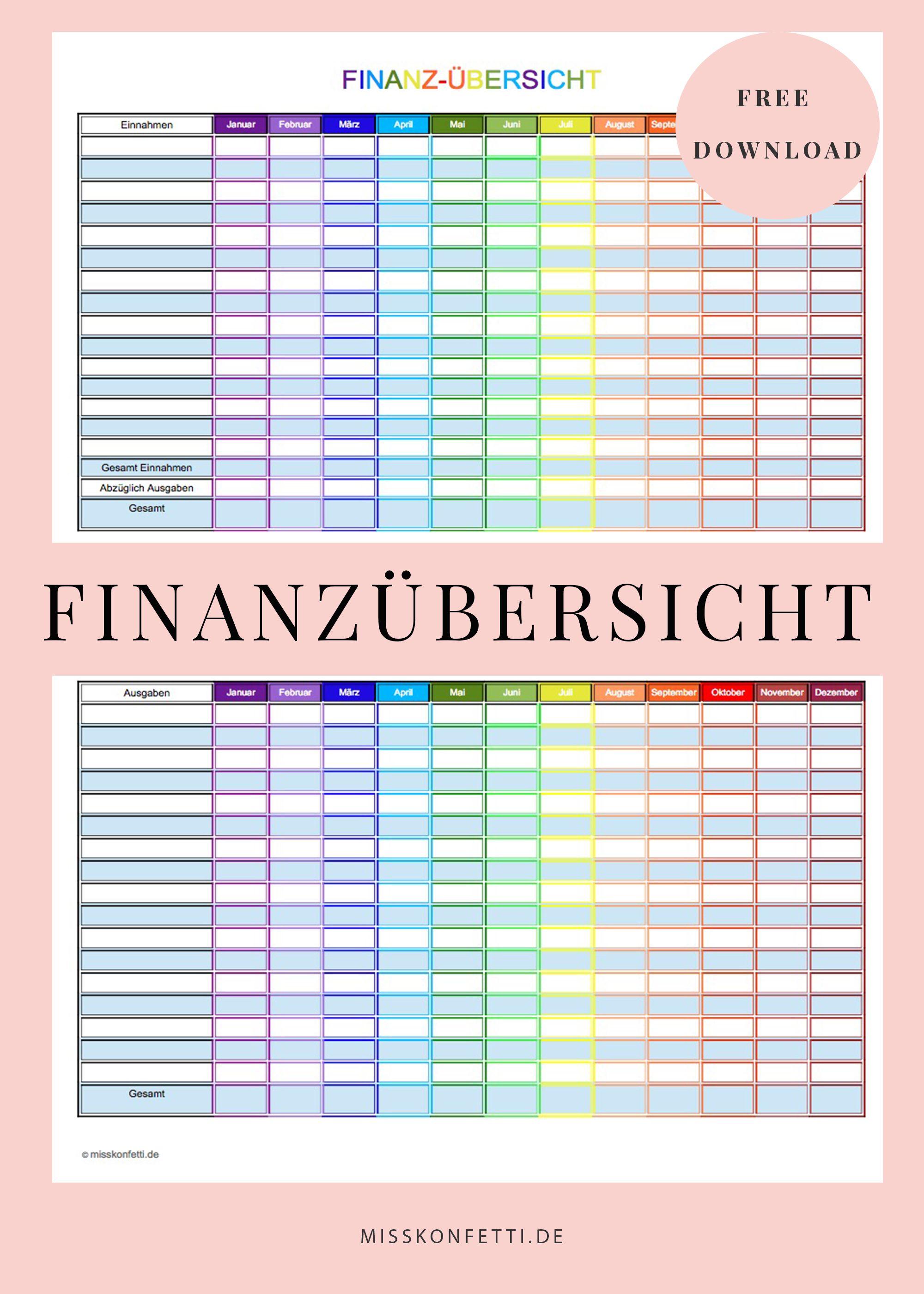 Finanzen im Griff mit dem Haushaltsbuch | Kostenplan | Pinterest ...