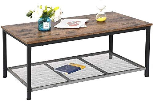 Buy HomGarden Industrial Wood Coffee Table Rustic Brown Cocktail Table  Storage Shelf Metal Frame, Rustic Rectangluar Coffee Table  Living Room, Office,Pati online – Thechicfashionideas