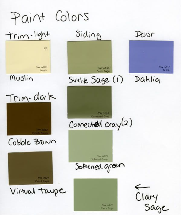 Sage Green Color Palette | Exterior Paint color--Please help! Painter is  starting