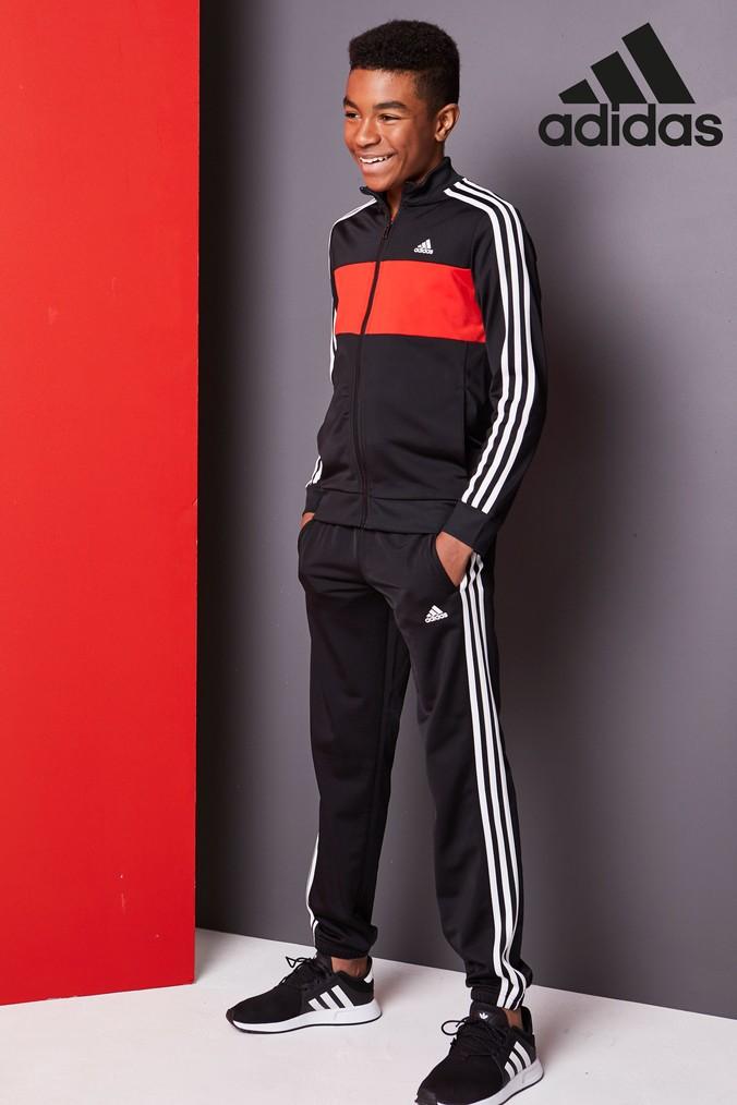Boys adidas Tiberio BlackRed Tracksuit Black | Products