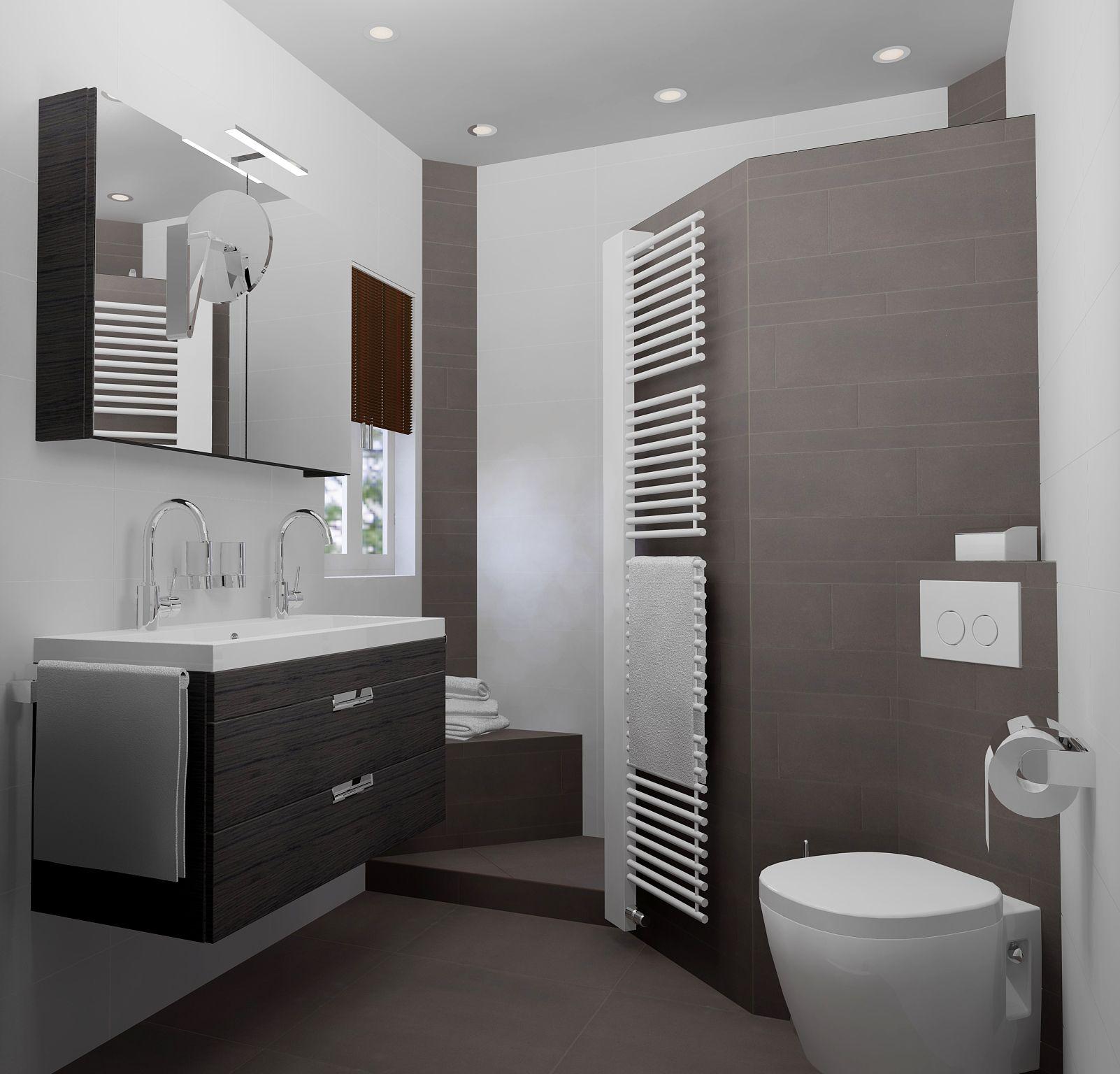 kleine badkamer van 200x187cm met inloopdouche 2 hoekzitjes toilet en dubbele wastafel gratis 3d badkamerontwerp en 360view op sani bouwnl