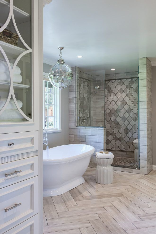 Magnificent Beige Tile Wall Bathroom Traditional With Light Gray Arabesque Tile Herringbone Pattern Rustic Master Bathroom Master Bathroom Decor Small Bathroom Remodel