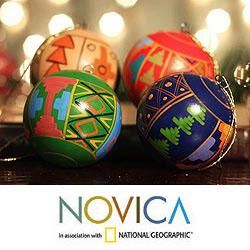 peruvianchristmasornaments set of 4 ceramic inca christmas ornaments