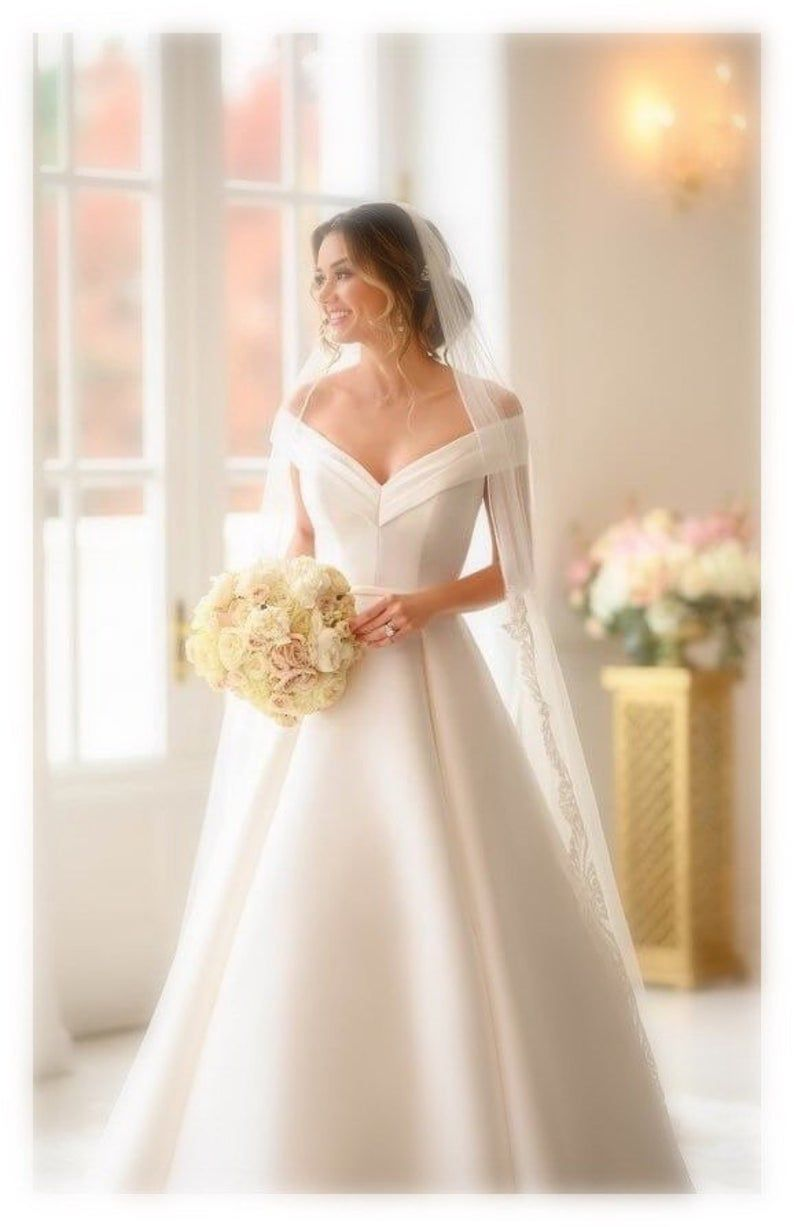 Bridal White Wedding Gown With Trail Evening Dress Ball Gown Long Wedding Gown Western English Wedding Dress Romantic Wedding Dress In 2020 English Wedding Dresses Long Gown For Wedding Simple Wedding Gowns