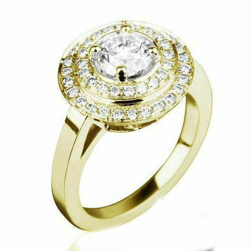 VS 2.5 CARAT SOLITAIRE ACCENTED BRILLIANT DIAMOND 18K YELLOW GOLD PROPOSAL RING
