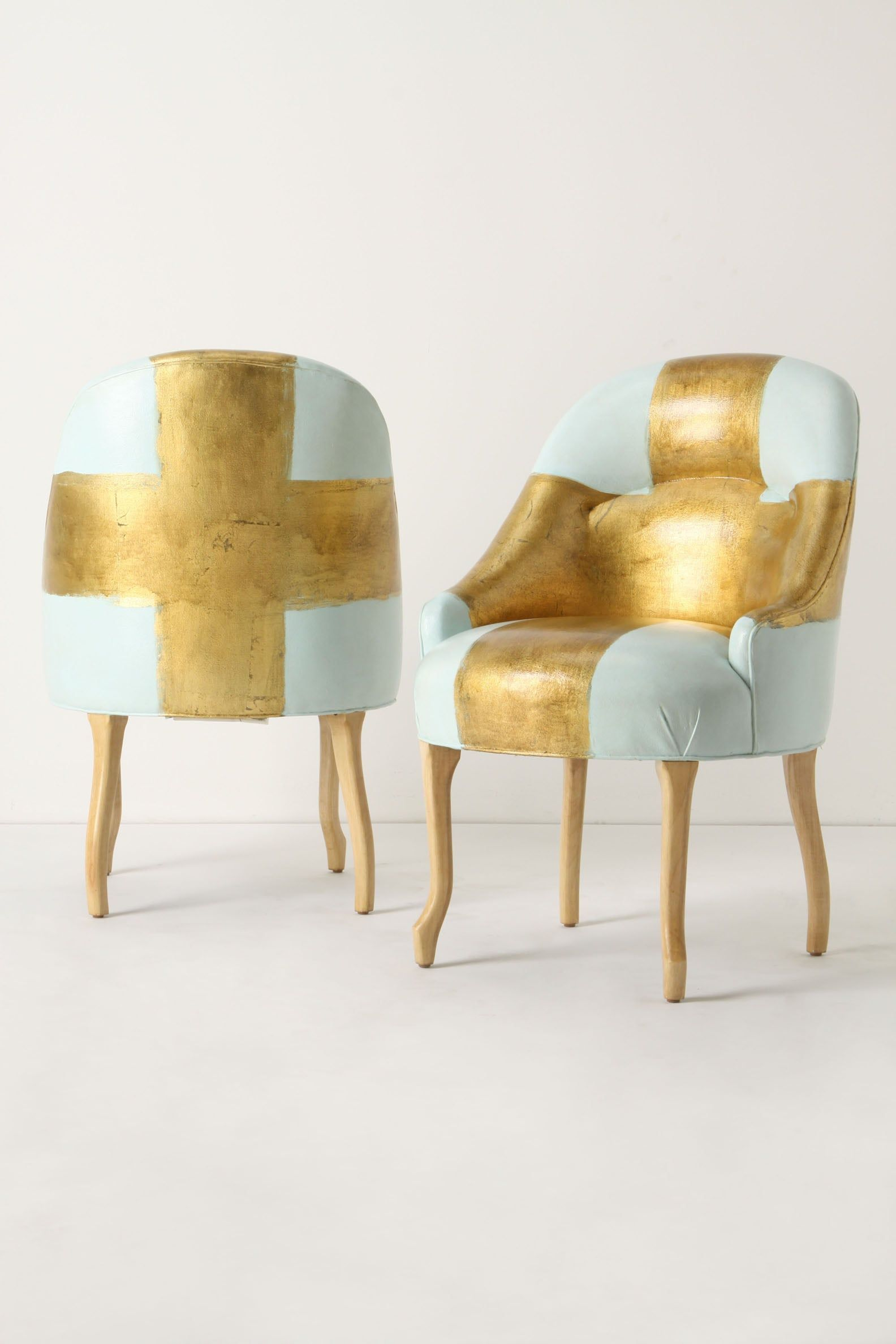Kaki Foleyu0027s Chairs, Provided By Anthropologie, Are Painted With Gold Metal  Leaf.