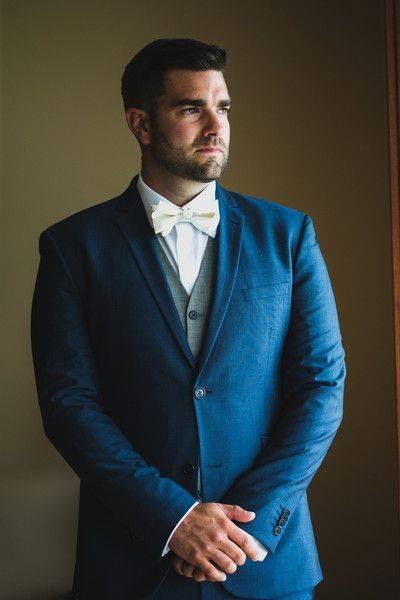 Modern groom suit idea - blue suit   gray vest   white bowtie - so ...