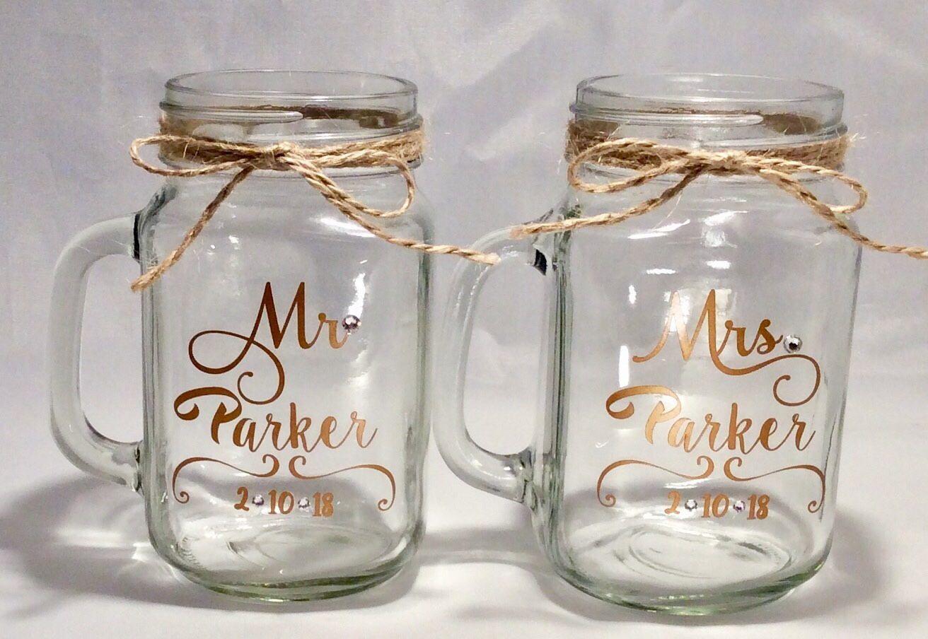 2 Pack Mr And Mrs Personalized Wedding Mason Jars Mason Jar Etsy Mason Jar Wedding Personalized Mason Jars Wedding Custom Mason Jars