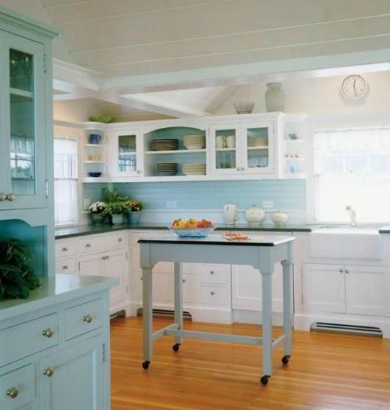 Coastal Kitchens Coastal Kitchen With Seafoam Green And Seaglass Color Cabinets Kitchen