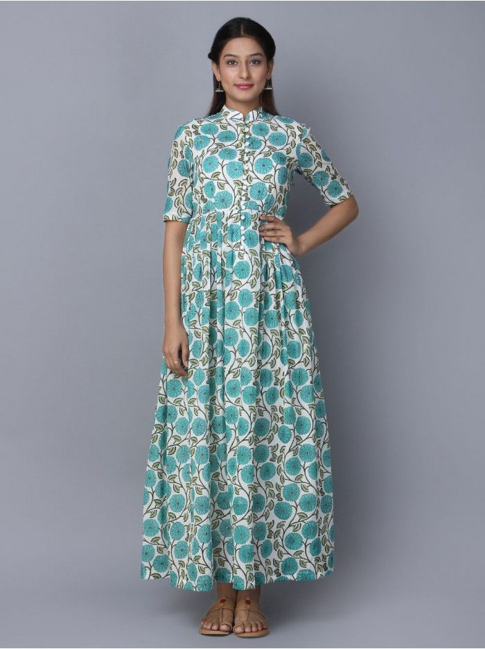 2616c8fa383b Turquoise Mulmul Block Printed Maxi Dress