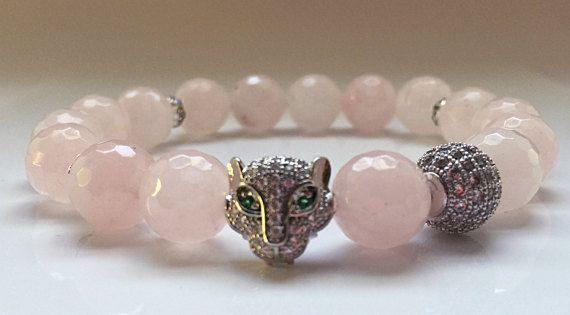Rose Quartz Beads  Diamond Leopard Head Bracelet  Silver