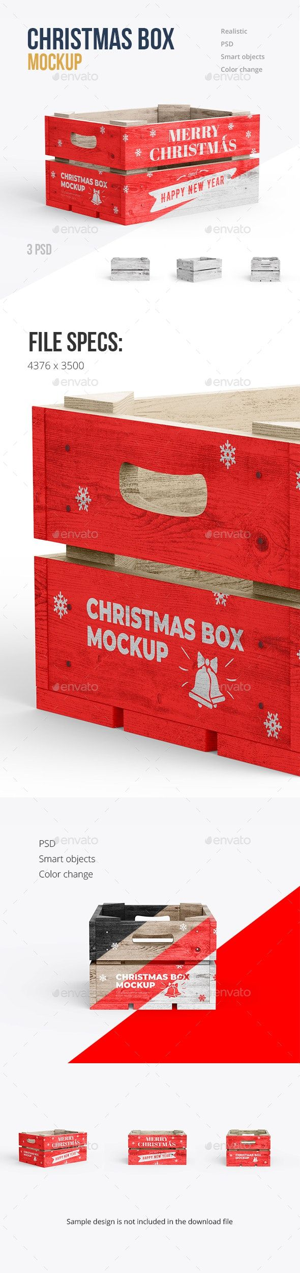 Download Christmas Box Mockup 3 Psd Box Mockup Christmas Box Graphic Design Templates