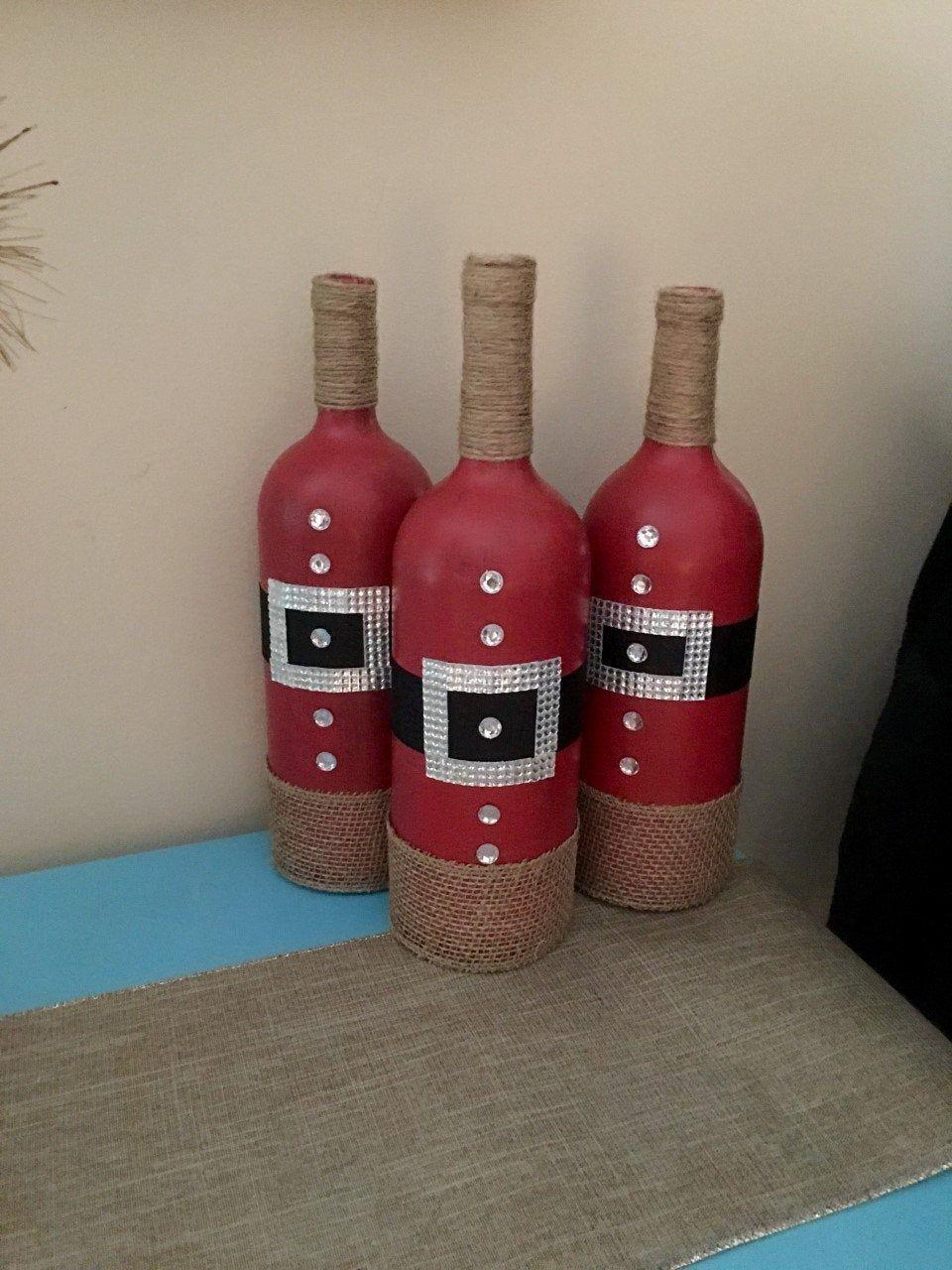 Christmas Wine Bottles Christmas Home Decor Santa Home Etsy Christmas Wine Bottles Bottles Decoration Wine Bottle Christmas Decorations