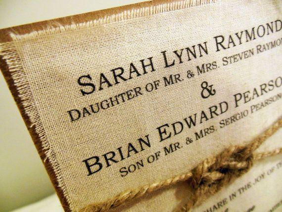 Diy Rustic Wedding Invitation Kit Burlap Fabric Rustic Wedding