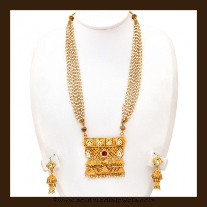 Gold Long Pearl Necklace Set From Vbj Long Necklace