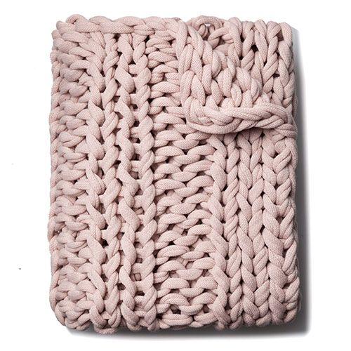 Home Republic Chunky Knit Rib Throw Dusty Pink Homewares Throws