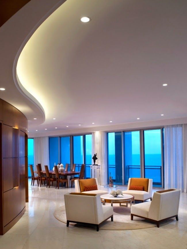 curved LED ceiling lighting built in suspended
