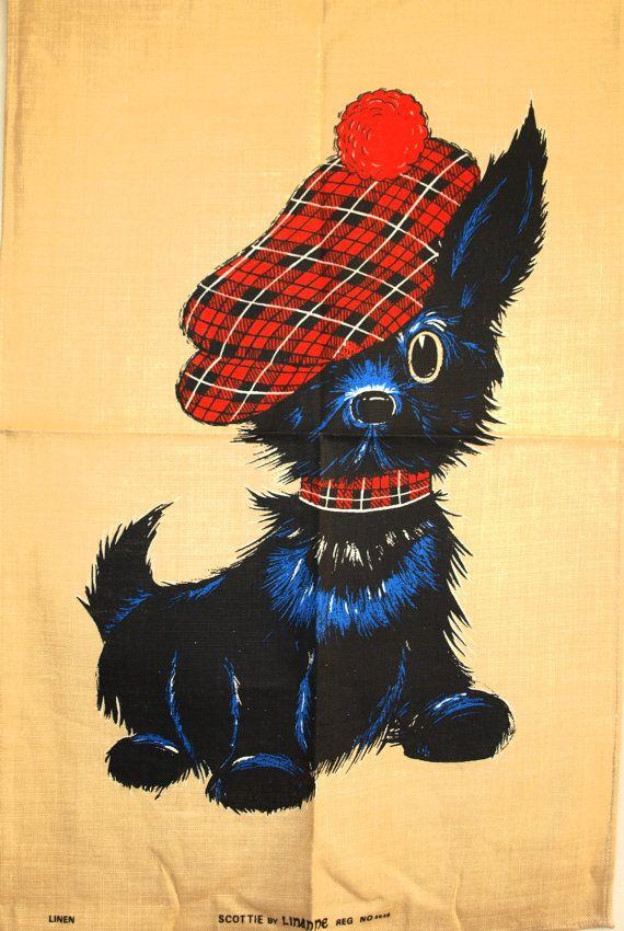 Linanne Scottie Dog Tea Towel  Vintage Kitsch by FunkyKoala