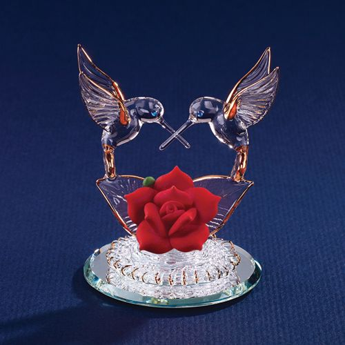 Hummingbirds and Red Rose Glass Figurine   GrandmasGeneralStore - Collectibles on ArtFire