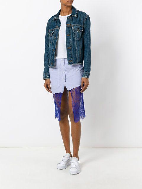 Filles A Papa 'Scully' lace panel asymmetric striped skirt