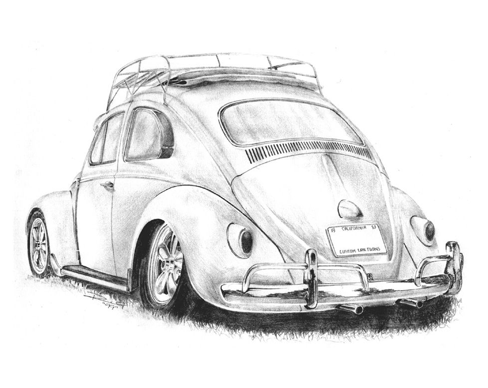 vw baja bug drawing maybe for my brother tattoo
