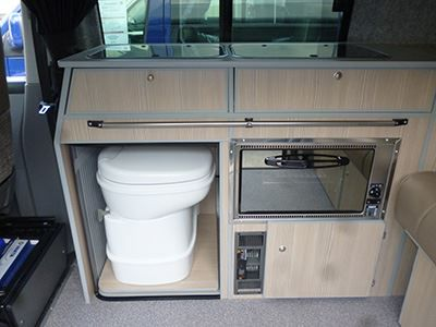 VW T5 camper conversion with proper, flushing toilet