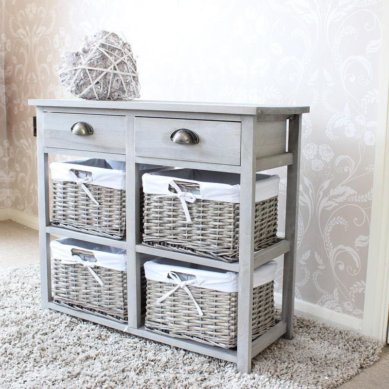 Grey Wood Wicker Storage Unit Drawer