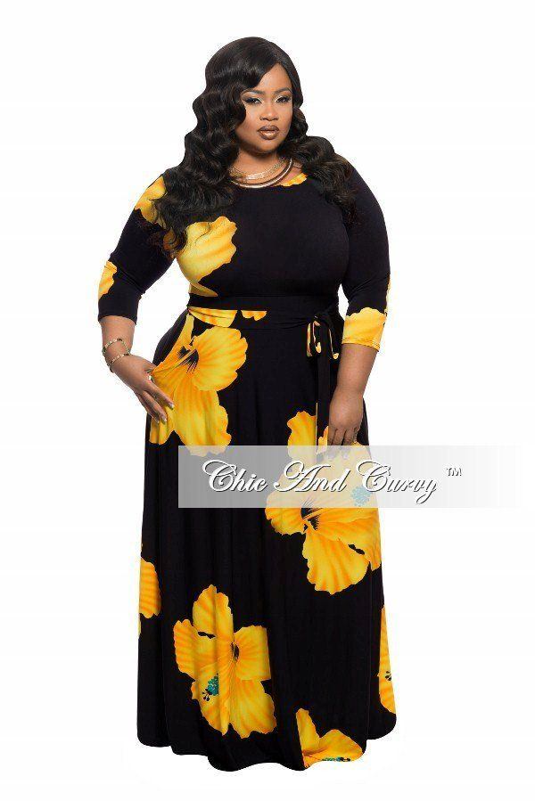 Black and Yellow Plus Size Maxi Dresses
