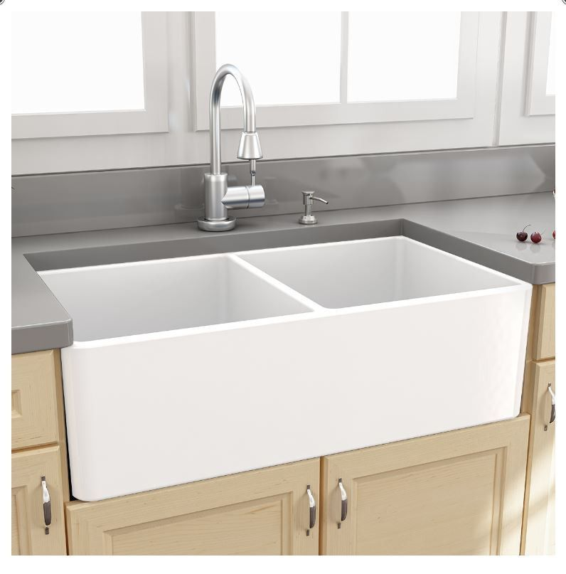 Nantucket Sinks 33 Fireclay Apron Front Farm Sink T Fcfs33 Dbl Ls