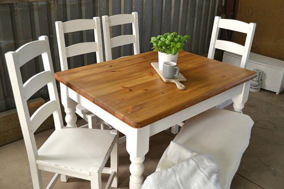 Stupendous Sold Solid Pine Farmhouse Dining Table 4 Seater White Creativecarmelina Interior Chair Design Creativecarmelinacom