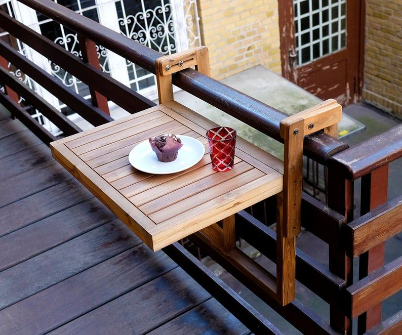 Teak balcony table folding balcony hanging table for the parapet real wood 60 x 45 cm teak folding table railing hanging table balcony furniture