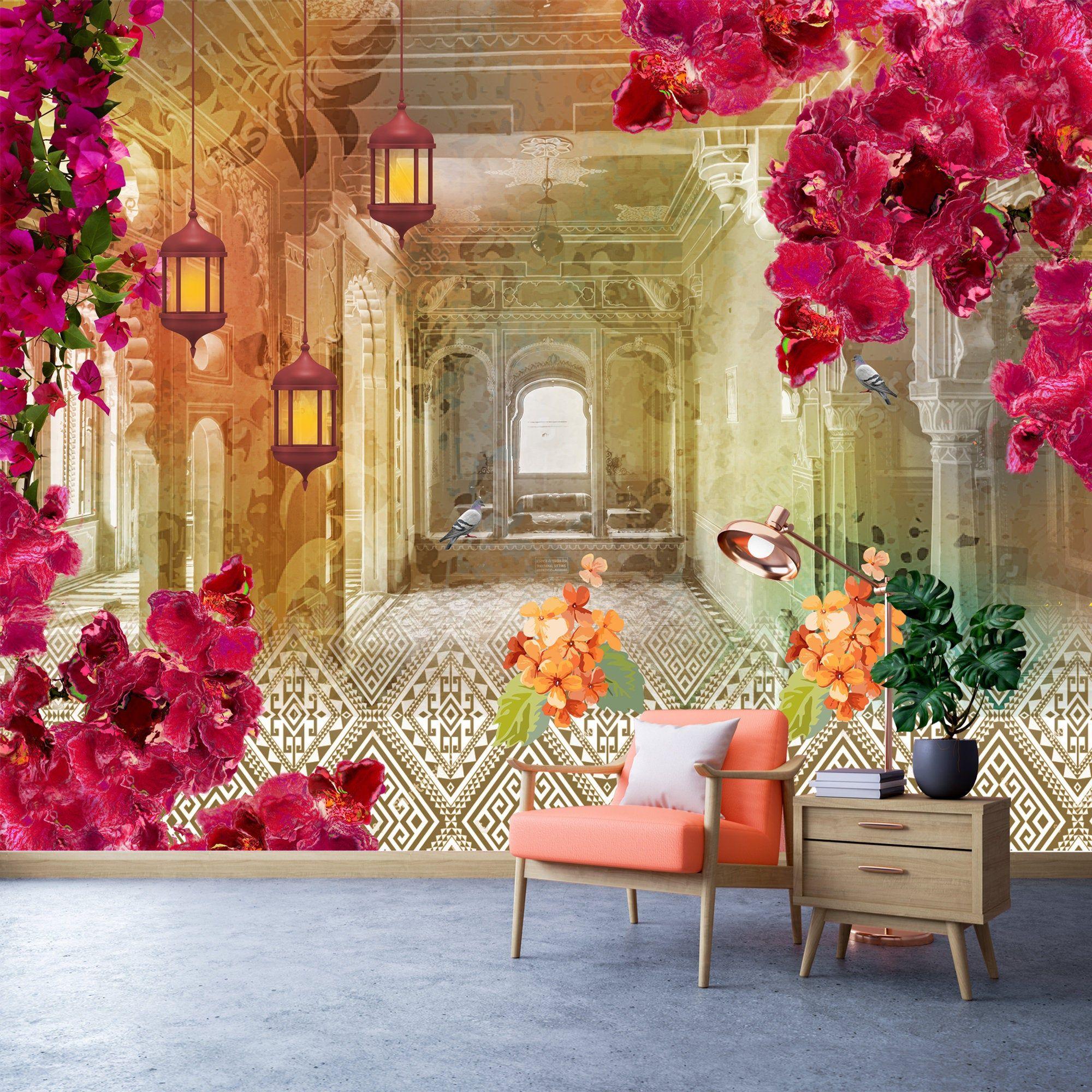 Indian Art Wallpaper Removable Wallpaper Arabic Theme Wall Etsy Wallpaper Walls Decor Removable Wallpaper Art Wallpaper